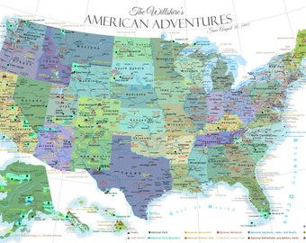 US Map National Park Map Poster Illustrated USA Map