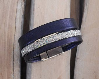 Navy blue leather Cuff Bracelet and silver (BR04AGmarine)