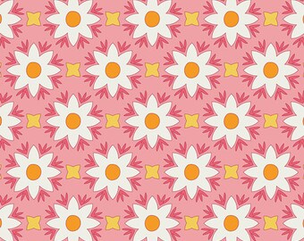 White Daisies, White Flower Fabric, Pink Fabric, Art Gallery Fabrics, 1 Yard Fabric, Fat Quarters, Summer Quilts, Cotton Fabric By The Yard