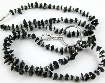 Black Obsidian gemstone chip lanyard ... perfect for your ID badge key eyeglasses Back to School
