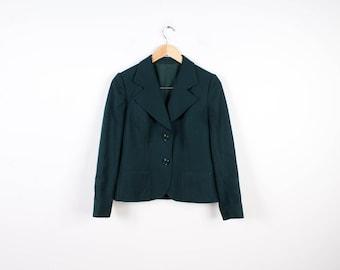 Green Jacket Vintage Women Jacket Classic Formal Style Business Suit Jacket Dark Green Suit Vintage Style