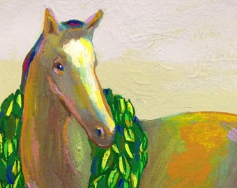 Tried and True ... art print • giclee • horse • reproduction • colorful • animal •wreath • winner • champion • equine • riding • horseback