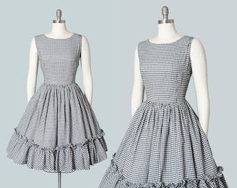 Vintage 1950s Dress   50s MODE O DAY Gingham Cotton Sundress Ruffled Black White Full Skirt Day Dress (medium)