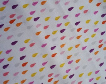 Michael Miller, Drip Dot Orange,  purple and yellow on white, remnant only available, 61cm x 76cm.