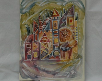 "Hand Painted Batik,""Colors of the City""2 Painting on 100% Silk,Batik Art Wall Hanging,Picture on Silk,Abstrack City House Batik,Town Batik"