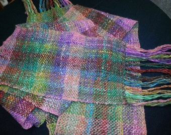"""Silk, Mohair & Lamb's Wool Handwoven Light Weight Plaid Scarf - 82"""" x 6"""" - FREE Priority Shipping in USA"""