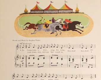 Vintage song De Camptown Races sheet music written by Stephen Foster