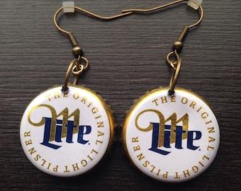 Miller Lite Beer BottleCap earrings