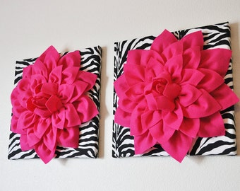 "TWO Wall Flowers -Hot Pink Dahlia Flowers on Black and White Zebra Print 12 x12"" Canvas Wall Art- Baby Nursery Wall Decor-"