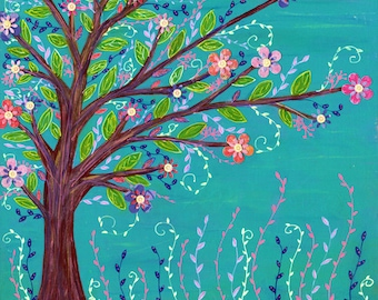 Blue Tree Landscape, Mixed Media Poster Print, Large Giclee Print