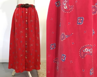 90s Red Silk Maxi Skirt / Size Large