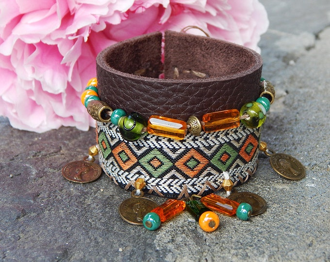 Featured listing image: Aztec Ribbon and leather cuff
