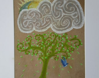 nature art - ground air sky - oil pastel painting - whimsical tree clouds