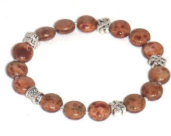 Coppery Brown Jasper Gemstone and Silver Stretch Bracelet