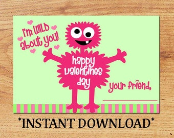 INSTANT DOWNLOAD - Blank Valentine - Monster - Mini Valentine