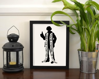Tom Baker Doctor Who Printable Art - Stepping on My Scarf, Would You Like a Jelly Baby? | Doctor Who | Whovian