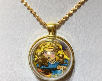 Goldilocks and the three bears gold pendant necklace with chain and glass globe