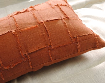 Woven texture fringed linen decorative pillow cover burnt orange rustic modern home decor