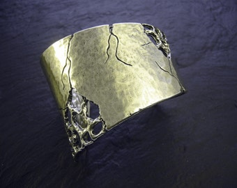 Bracelet rigid cuff, silver or gold, handcrafted Tin