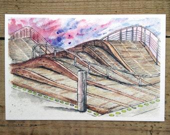 Toronto Postcard / Toronto Art / Toronto Themed Postcards / Watercolor Postcard /  Simcoe Wavedeck