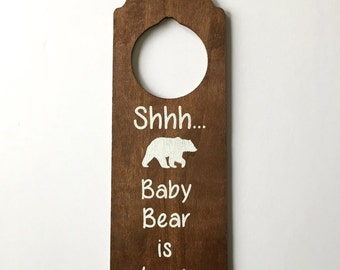 FREE SHIPPING | Baby Sleeping Door Hanger Wood Sign | Handpainted Woodland Theme | Baby Bear Sleeping | Do Not Disturb Sign | Napping Baby