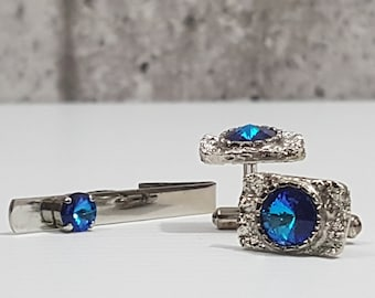 Brilliant Men's Cufflinks & Tie Clip with Faux Blue Topaz/Crystal or Rhinestone in Textured Silver Tone Setting, Bullet Backs, Gift For Him