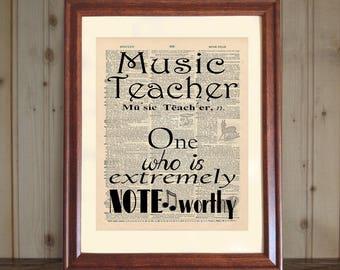 Music Teacher Gift, Teacher Appreciation Gift, Music Teacher Quote, Graduation Gift for Music Teacher, Dictionary Print, Music Teacher Print