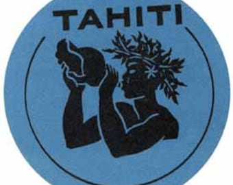 Vintage Style Tahiti South Pacific Islands Travel Decal sticker