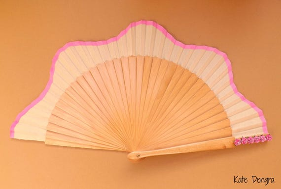 Natural Fan Wood Scalloped Fabric SIZE OPTIONS Pink Hand Fan with Colored Band and Mulberry Flowers on Main Grip by Kate Dengra Spain