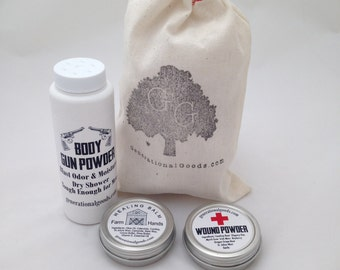 Gentleman Kit for Hiking and Backpacking: Body Gun Powder, Farm Hands Healing Balm, Wound Powder First Aid Outdoor Adventure Camping Gear