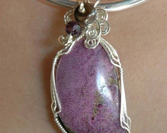 Lovely Lilac Stichtite Freeform Pendant Wrapped in Sterling Silver P56