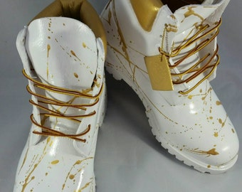 White and Gold 24K Timberland Boots- Custom Timberlands- White Timberland Boots- Mens Timberland Boots- Womens Timberland Boots- Kids Timbs