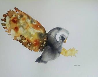 original owl watercolor painting