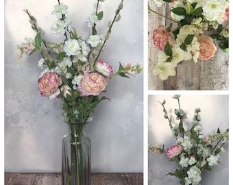 Pink Silk Flowers - Cream Silk Flowers - Pastel Floral Decor - Faux Flower Arrangement - Garden Bouquet - Large Floral Display