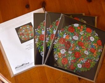 Blank inside greeting card flowers