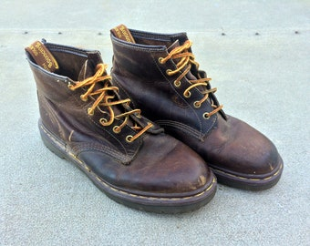 Darn Docs -- Vintage pair of matte brown leather Doc Marten boots -- US 10