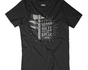BREAK THE RULES t-shirt Learn the rules and break them tshirt Native mens vintage shirt Axe t-shirt Tomahawk print Abide by rules APV277