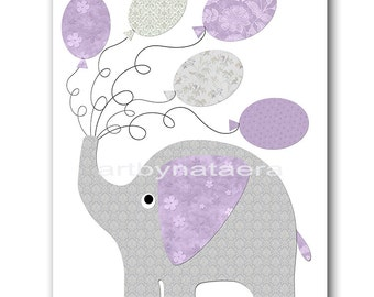 Elephant Nursery Art for Children Printable Digital Print Baby Girl Nursery Print Digital Download Print 8x10 11X14 INSTANT DOWNLOAD