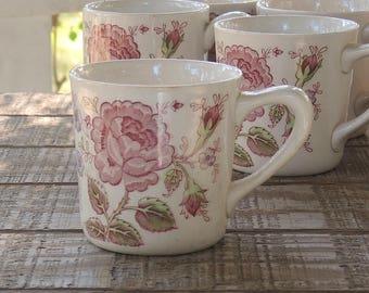 Vintage Johnson Brothers Rose Chintz Coffee Mug, English Ironstone China, Bridesmaid Luncheon, Tea Parties Ca 1930s