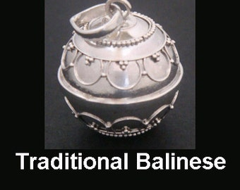 Harmony Ball Traditional Balinese with ornate motifs on Sterling Silver Chime ball | Bola Necklace, Bola de Grossesse, Pregnancy Gift 306