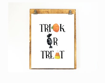 Trick or Treat Halloween Candy Printable Wall Art Halloween Print Trick Treat Halloween Candy Corn Print Halloween Decor Halloween Printable