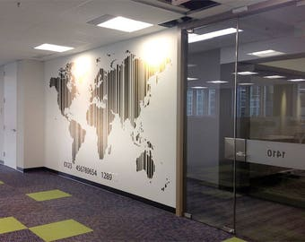 World Map in Barcode - Decals for Home Decor, Usa France Germany Italy Europe Africa Australia America Russia Asia China Japan Canada