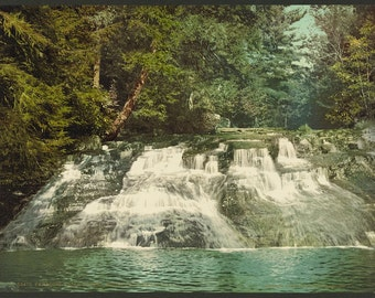 Paradise Falls, Pocono Mountains, Pennsylvania 1900. Vintage photo postcard reprint 8x10-up. Waterfalls Rivers Pennsylvania Henryville