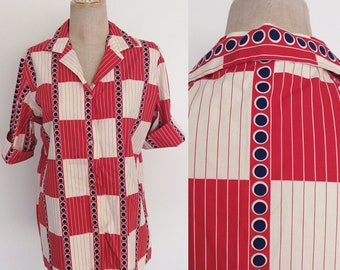 1960's Red, White, & Blue Polka Dot Button Up Vintage Shirt Size Large XL by Maeberry Vintage