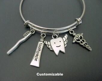 Dental Bracelet / Dental Assistant Bracelet / Tooth Toothpaste  / Dental Hygienist Bangle /  Dentist Bracelet/ Adjustable Charm Bracelet /