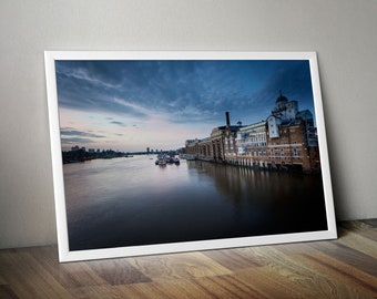 River Thames at Dawn with Shad Thames and Canary Wharf. City Skyline Large Oversized Photo Artwork