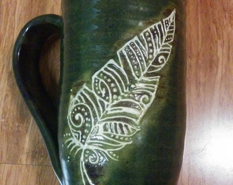 Henna feathers deep olive green , 16 ounce handmade ceramic mug #65