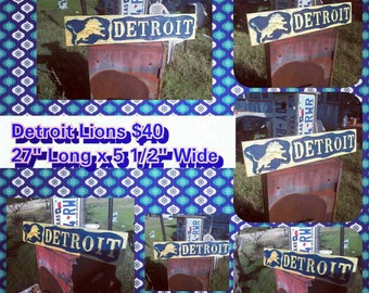 Personalized Nfl Man Cave Signs : Detroit lions wood etsy