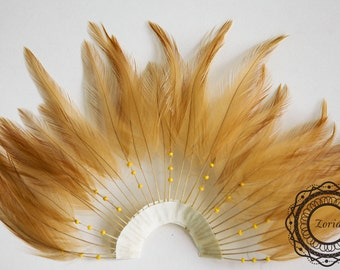 "Dozen 5"" Beaded Half Pinwheel Stripped Rooster Hackle Feather Pads 