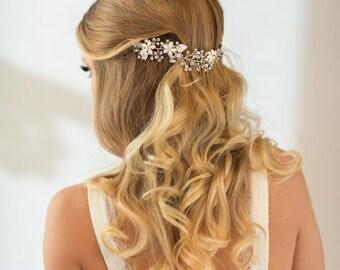 Wedding Hair Vine, Flower Hair Vine, Bridal Hairpiece, Pearl Crystal Hair Vine, Wedding Headpiece